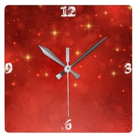 Red Christmas Square Wall Clock