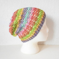 Pastel Rainbow Slouchy Skullcap Beanie Hat, ready to ship.