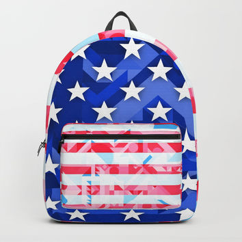 USA AMERICAN FLAG GEOMETRIC (MULTI COLOR, RED, WHITE, BLUE) Backpacks by AEJ Design
