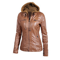 Brown Faux Leather Hooded Zippered Hoodie Motorcycle Jacket Coat