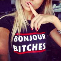 BONJOUR BITCHES Summer Cotton Round Necked Short Sleeve T-Shirt Top a11134