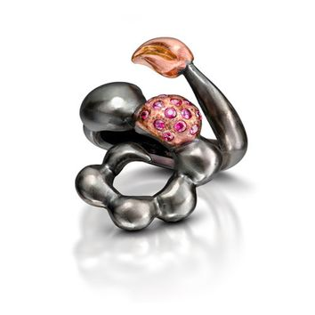 ALL NEW Serpentine Ruby, 18k Rose Gold and Silver Ring
