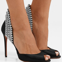 Aquazzura - Concorde crystal-embellished satin pumps