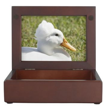 Crested Pekin Duck Wooden Keepsake Box