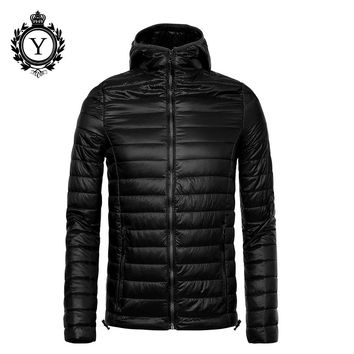 COUTUDI 2016 New Ultralight Winter Jacket Men Solid Black Nylon Mens Puffer Jacket Waterproof Jackets and Coat Male High Quality