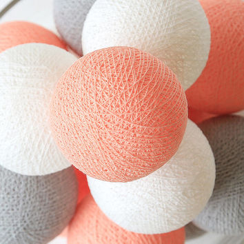 20 Cotton Ball String Lights for Bedroom, Wedding Decor, Patio Party, Fairy, Outdoor -  Pastel Peach Grey White