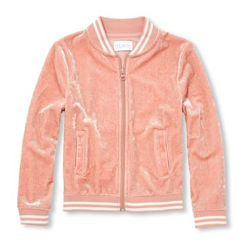 Girls Active Velour Bomber Jacket