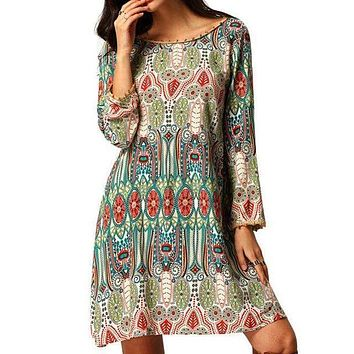 Long Sleeve Bohemian Tunic Dress