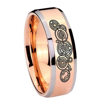 10MM Beveled Doctor Who Rose Gold IP 2 Tone Tungsten Carbide Men's Ring