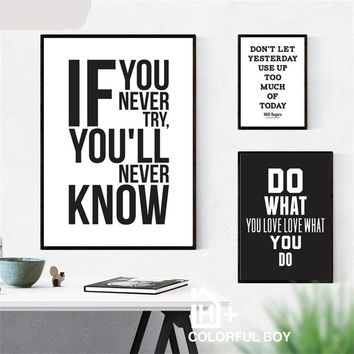 If You Never Try You'll Never Know Motivational Inspirational Canvas - Print Wall Art Decor Quote