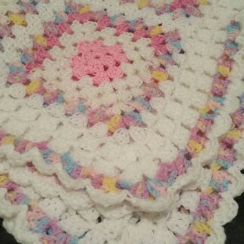 pink and white Baby blanket  square blanket multi   Rainbow blanket granny square pram blanket bedding crochet cat blanket photography prop