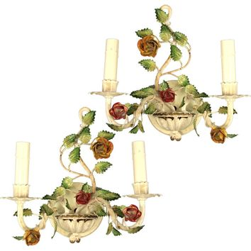 Pair of Italian Roses Double Arm Sconces