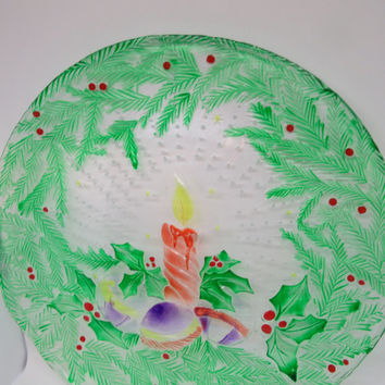 Hand Painted Round Candle and Christmas Bulbs Serving Platter or Plate