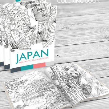 Digital COLORING BOOK JAPAN printable 8.3 x 11.7 - 15 Coloring pages - Adult Coloring book - Antistress - Kids activity - Stress relieve
