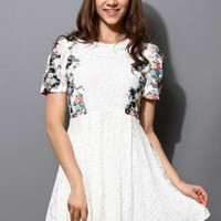 White Lace Dress with Retro Floral Pattern Shoulder Detail