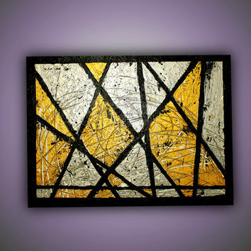 Original Gold  Silver Metallic Abstract Textured Painting ,Wall Art 31x24, Free Shipping !