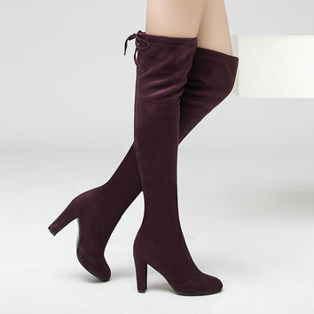 Stretch Suede Over the Knee Boots up to Size 12 (26.5 cm - EU 43)