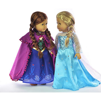 "Princess Elsa and Anna Dress Set Doll Clothes Fits 18"" Doll like American Girl Doll Clothes  #HJ19+HJ11"