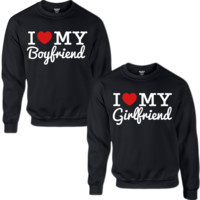 I LOVE MY BOYFRIEND I LOVE MY GIRLFRIEND COUPLE SWEATSHIRT