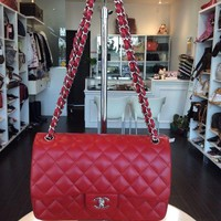 Chanel Red COCO Jumbo Flap Purse Handbag Shop Pick Up@ LA Local Store