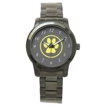 Yellow Dog Paw Design Dog Lover Watches