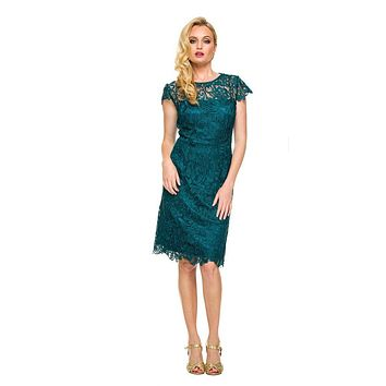 Short Vintage-Like Lace Dress Emerald Green Cap Sleeves