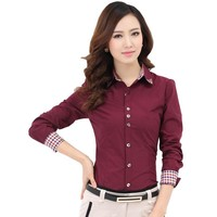 Quality Brand Women Blouse Formal Plaid Shirt Blusas Femininas Cardigan Work Wear Clothing Women Tops Casual Female Blouse Shirt