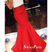 White and Red Off Shoulder Mermaid Prom Dresses, Mermaid Formal Dresses