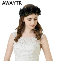 AWAYTR Hair Flower Accessories Wedding 2017 New Red Black Fabric Rose Flower Crown Headbands Boho Large Size Flower Band