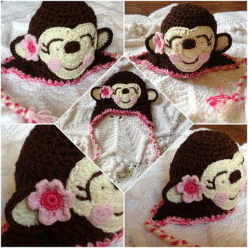Pink Hand Crochet Monkey Hat Face with flower- ear flaps cute girl hat-Thick Adorable Baby Newborn Infant Toddler Beanie Photo Prop