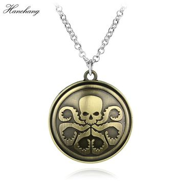 HC Marvel Comics Agents Of Shield S.H.I.E.L.D. Hydra Logo Pendant Vintage Bronze Necklaces Men Women Christmas Cosplay Gift