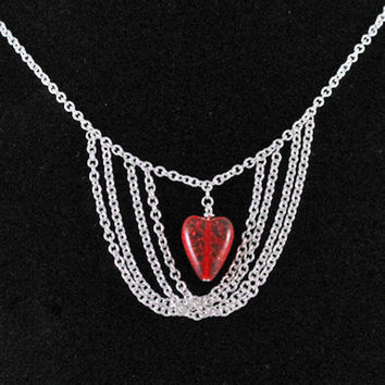 Red Glass Heart in Silver Chain Bib Necklace by SeventhChild