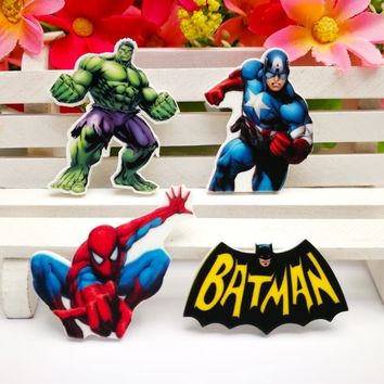 Batman Dark Knight gift Christmas 40pcs/Lot Mixed Spiderman Hulk Captain America Batman Planar Resin Cabochon Flat Back Scrapbooking DIY Flatback Hair Bow Cente AT_71_6