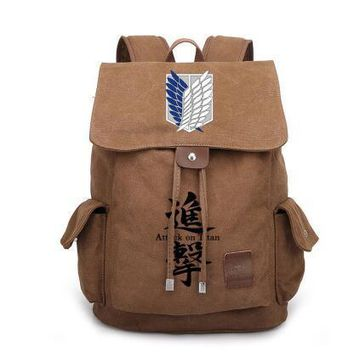 Cool Attack on Titan New Anime  Canvas Backpack Cosplay no  Wings of Liberty School Bags Bookbag Rucksack Travel Bags AT_90_11