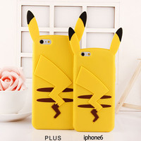 Cute 3D Cartoon Pokemons Pikachue Silicone Case for iPhone 7 6 6S 6 Plus 5s 5 4s 4 Samsung Galaxy S5 S6 S7 Edge J5 J7 J1 J3 2016