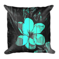 Turquoise Wood Pattern Flower  Pillow