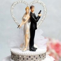 Super Sexy Spy Rhinestone Heart Wedding Cake Topper - Wedding Collectibles