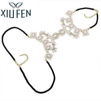 ac DCCKO2Q XIUFEN XY Fancy Multi Layer Flower Chains Allloy Resin Elegant Flower Women Back Sexy Body Chains Summer Dress Necklaces