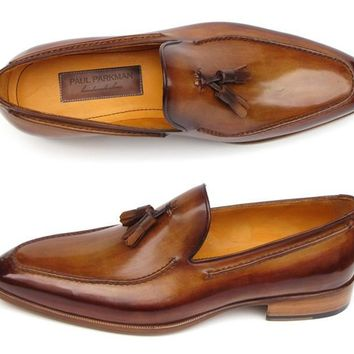 Paul Parkman Men's Tassel Loafer Camel & Brown Hand-Painted (ID#083-CML)