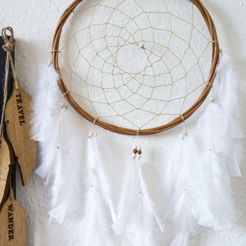 White Dreamcatcher - Large Dream Catcher, Wall Hanging Dreamcatcher, Wall decor, Wedding Decor, Handmade, Boho Baby, Boho Dreamcatchers
