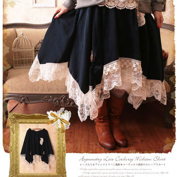 2016 New Women Sweet Tutu Skirt Japanese Mori Girl Lace Patchwork Embroidery Ball Gown Solid Color Irregular Mesh Skirt