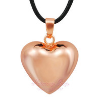 Rose Gold HEART CHIME BOLA PENDANT BOLA BALL HARMONY MEXICO CHIME BALL BABY CUSTOM JEWELRY ANGEL CALLER LONG NECKLACE LOVE