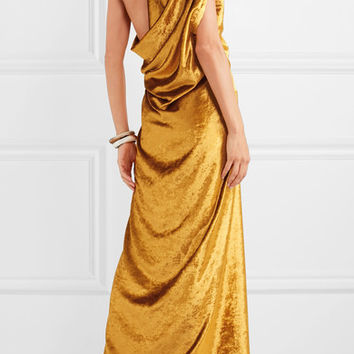 Sid Neigum - Draped crushed-velvet gown