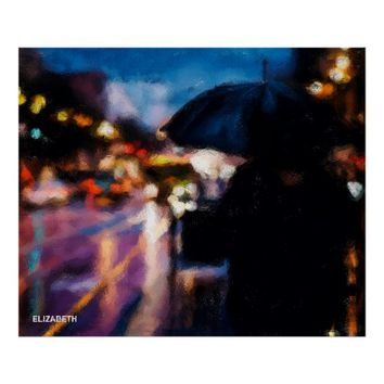 Lady With Umbrella In Rainy Night Moody Drawing Poster