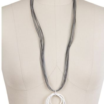 Saachi Swirl Long Necklace with Leather Cord