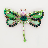 Czech Green Glass Rhinestone Dragonfly Pin