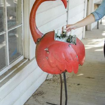 Red Reclaimed Metal Flamingo Cooler Or Planter