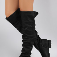 Bamboo Slouchy Round Toe Over-The-Knee Riding Boots