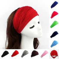 DCCKLW8 Ladies cotton Hairband Head Band Headband Wrap Neck Head Scarf Cap 2 in 1 Bandana