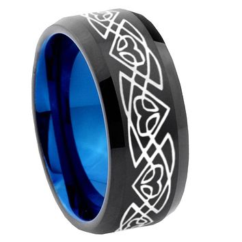 8mm Celtic Braided Bevel Tungsten Carbide Blue Mens Promise Ring